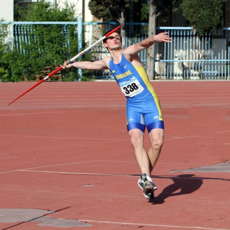 YALTA, UKRAINE - APRIL 25  Gaceluk Samson compete in the javelin throw competition for boys age 16-17 on Ukrainian Junior Track and Field Championships on April 25, 2012 in Yalta, Ukraine