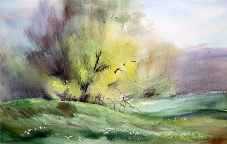 Watercolor painting landscape Stock Photo - 13700647