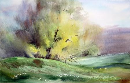Watercolor painting landscape Stock Photo - 13700647