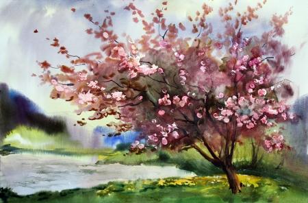 Waterverf schilderij landschap met bloeiende lente boom met bloemen Stockfoto