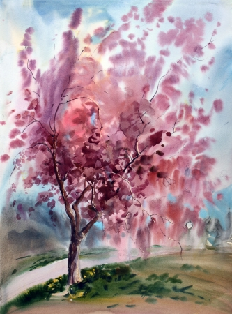 japanese garden: Watercolor painting landscape with blooming spring tree with flowers  Stock Photo