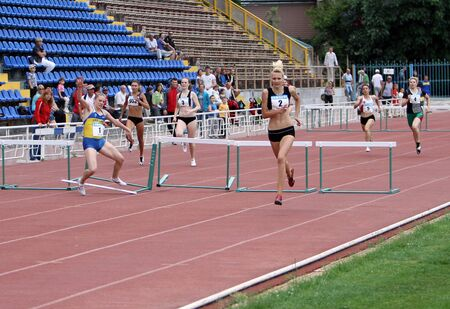 Yalta, Ukraine - May 24: athletes on the international athletic meet between UKRAINE, TURKEY and BELARUS on May 24, 2012 in Yalta, Ukraine.