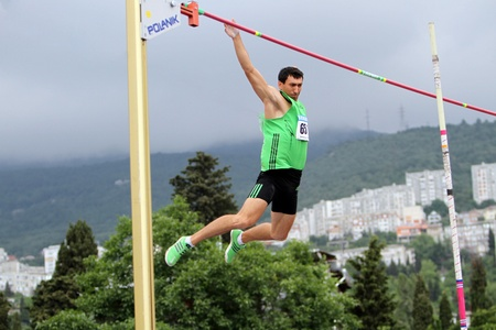 Yalta, Ukraine, May 28  Oleksiy Kasyanov silver medalist of World Championship compete on the Ukrainian Cup in Athletics, on May 28, 2012 in Yalta, Ukraine