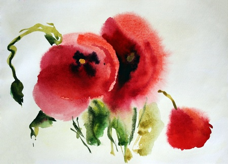 abstract flowers: Original watercolor illustration of Poppies