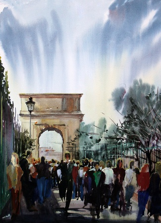 Roman cityscape on via Sacra with people and Arch Tito painted by watercolor  版權商用圖片