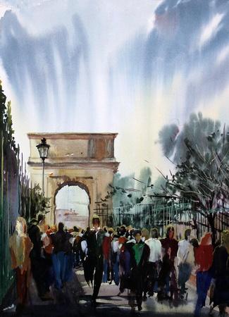 Romeinse stadsbeeld aan de Via Sacra met mensen en Arch Tito geschilderd door aquarel Stockfoto