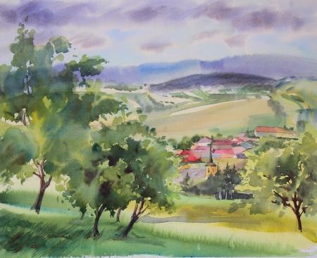 Austrian landscape painted by watercolor photo