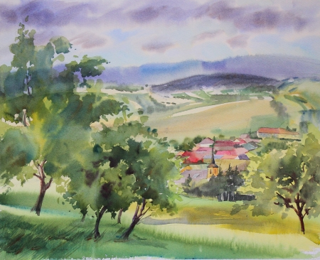 country church: Austrian landscape painted by watercolor