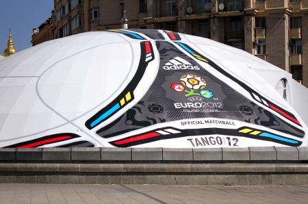 KIEV, UKRAINE - MAY 22  Shop of souvenirs in form of the tango 12, the official matchball of EURO2012 POLAND - UKRAINE, in the main square of Kiev on May 22, 2012 in Kiev, Ukraine  Kiev will host EURO 2012 Football championships