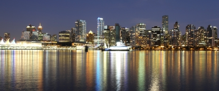 Vancouver downtown colorful night, Canada BC photo