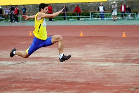 Yalta, Ukraine - May 25  athlete on the international athletic meet between UKRAINE, TURKEY and BELARUS on May 25, 2012 in Yalta, Ukraine