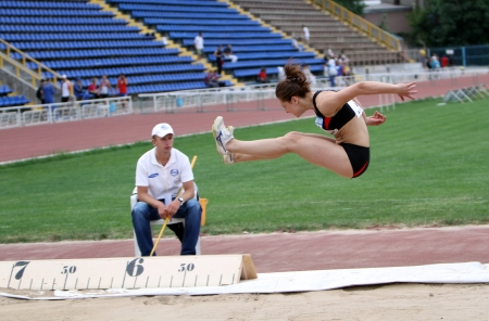 Athlete on the international athletic meet between UKRAINE, TURKEY and BELARUS on May 25, 2012 in Yalta, Ukraine