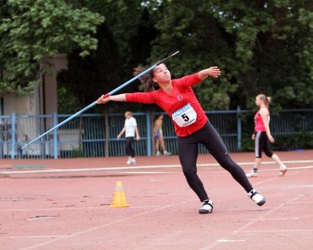 Athlete on the international athletic meet between UKRAINE, TURKEY and BELARUS on May 25, 2012 in Yalta, Ukraine
