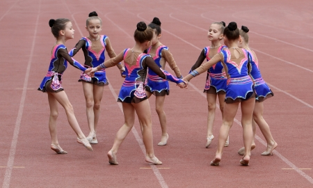 rhythmic gymnastic: Girls perform on the opening ceremony