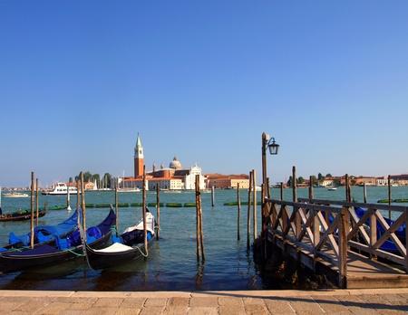 Gondolas anchored on Grand Canal in Venice