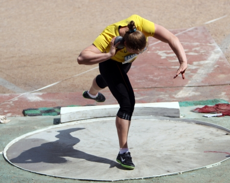 Athlete on the Shot put competition on Ukrainian Cup in Athletics on May 28, 2012 in Yalta, Ukraine
