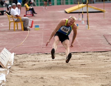 Athlete on the Long jump competition on Ukrainian Cup in Athletics on May 28, 2012 in Yalta, Ukraine