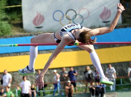 Olena Holosha on the High jump competition on Ukrainian Cup in Athletics on May 28, 2012 in Yalta, Ukraine