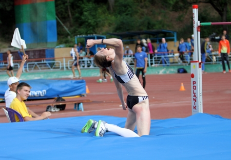 Olena Holosha on the High jump competition on Ukrainian Cup in Athletics on May 28, 2012 in Yalta, Ukraine