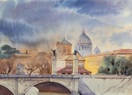 tevere: Basilica Sant Pietro and Ponte Vittorio Emanuele, Vatican, Rome, Italy