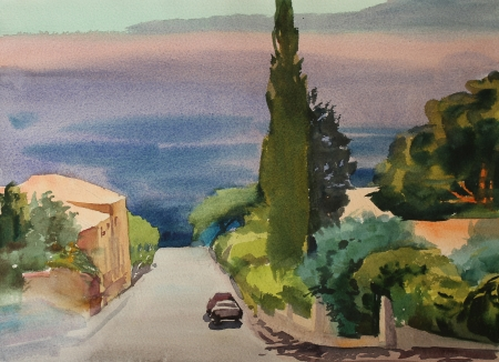 provence: Watercolor painting of the building in Provence Stock Photo