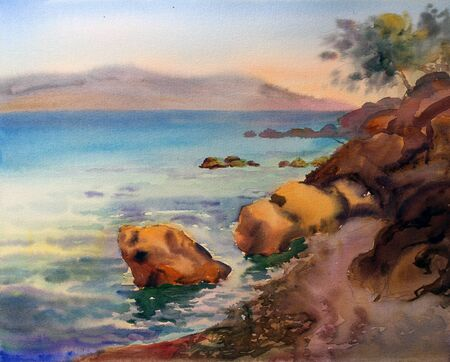 Watercolor painting of the Croatia photo