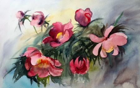 Peinture à l'aquarelle des belles fleurs Banque d'images - 14342954