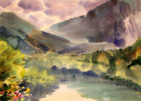 Mountain landscape painted by watercolor  photo
