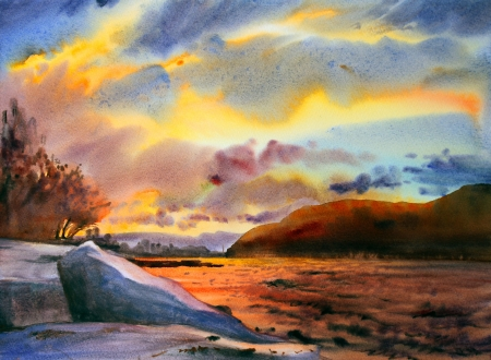 romantic getaway: Mountain landscape painted by watercolor