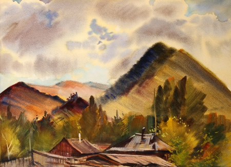 cultural history: Mountain landscape painted by watercolor in Zamulta village, Altai Mountains
