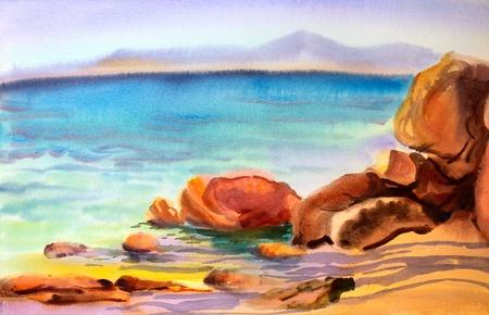 Aquarel schilderij zeegezicht Stockfoto