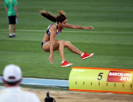 BARCELONA, SPAIN - JULY 13  Katarina Johnson-Thompson from Great Britain, winner of the long jump event with 6 81 meters on the IAAF World Junior Championships on July 13, 2012 in Barcelona, Spain Editorial
