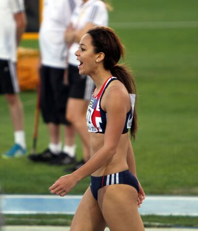 katarina: BARCELONA, SPAIN - JULY 13  Katarina Johnson-Thompson from Great Britain, winner of the long jump event with 6 81 meters on the IAAF World Junior Championships on July 13, 2012 in Barcelona, Spain Editorial