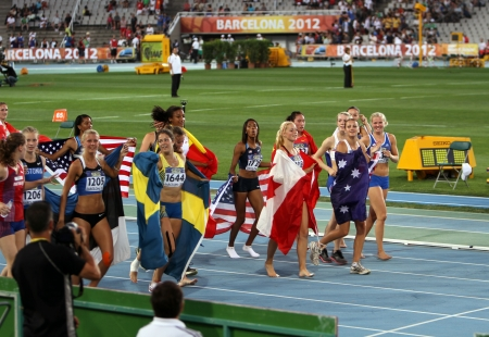 Girls after the finish of the Heptathlon event on the IAAF World Junior Championships on July 13, 2012 in Barcelona, Spain