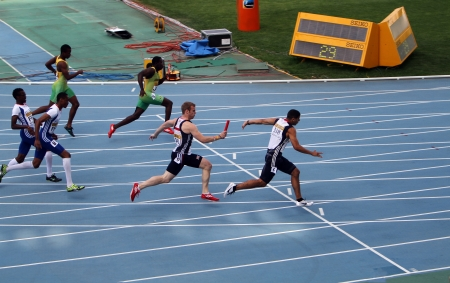 Relay race on the IAAF World Junior Championships on July 13, 2012 in Barcelona, Spain