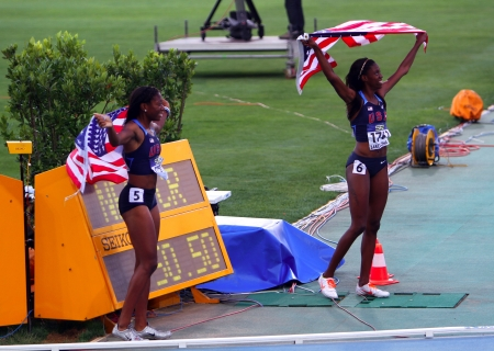 BARCELONA, SPAIN - JULY 14   L-R  Erika Rucker and Ashley Spencer the bronze and gold medalists of the 400 meters on IAAF World Junior Athletics Championships on July 13, 2012 in Barcelona, Spain