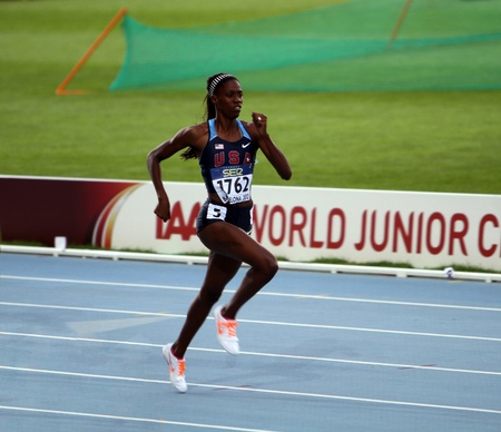 BARCELONA, SPAIN - JULY 12   Ashley Spencer - gold medalists of the 400 meters on IAAF World Junior Athletics Championships on July 12, 2012 in Barcelona, Spain