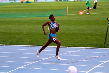 competes: Shaunae Miller competes in 400 meters race on the 2012 IAAF World Junior Athletics Championships on July 12, 2012 in Barcelona, Spain