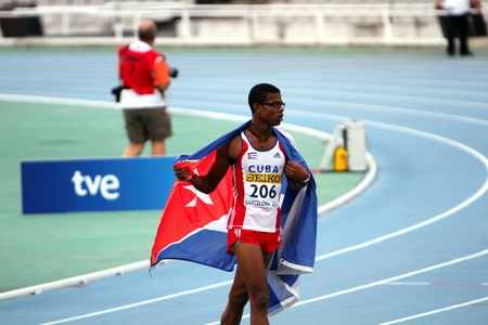 l first: Yordan L  O Farrill from Cuba celebrates winning of the 110 meters hurdles final on the 2012 IAAF World Junior Athletics Championships on July 12, 2012 in Barcelona, Spain