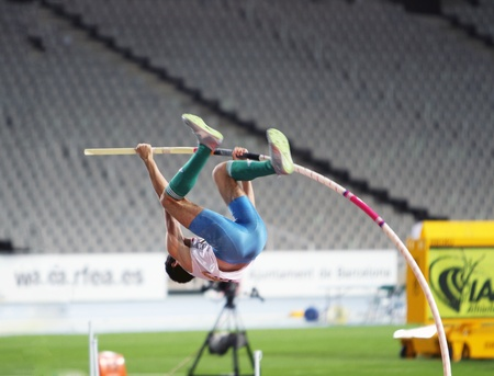 BARCELONA, SPAIN - JULY 12  Ivan Horvat from Croatia the winner of the silver medal in pole vault competition on IAAF World Junior Athletics Championships on July 12, 2012 in Barcelona, Spain