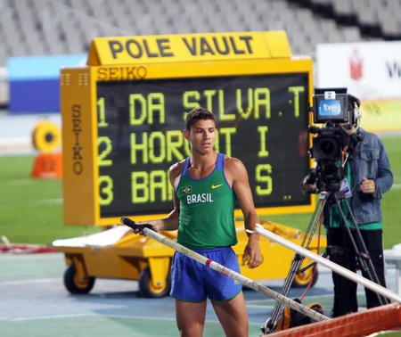 BARCELONA, SPAIN - JULY 12  Thiago Braz da Silva from Brazil the winner in pole vault competition on IAAF World Junior Athletics Championships on July 12, 2012 in Barcelona, Spain  Stock Photo - 14700090