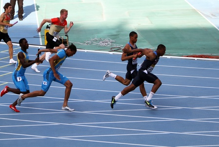Athletes on the 4 x 100 meters relay race on the IAAF World Junior Championships on July 13, 2012 in Barcelona, Spain
