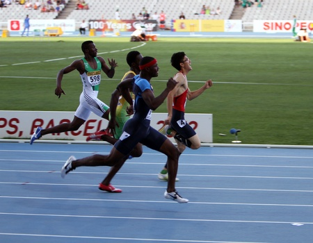 BARCELONA, SPAIN - JULY 13  Athletes in the 400 meters hurdles final on the 2012 IAAF World Junior Athletics Championships on July 13, 2012 in Barcelona, Spain
