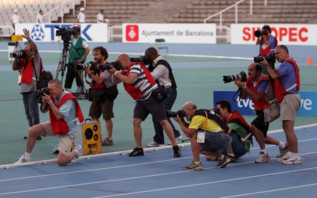 Photographers on the 2012 IAAF World Junior Championships on July 13, 2012 in Barcelona, Spain