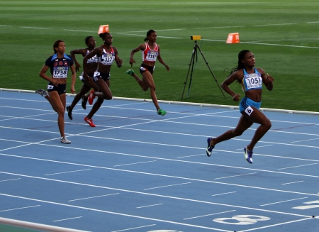 BARCELONA, SPAIN - JULY 13   Athlets on the 200 meters final on IAAF World Junior Athletics Championships on July 13, 2012 in Barcelona, Spain