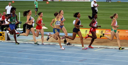 BARCELONA, SPAIN - JULY 13  Athletes in the 800 meters on the 2012 IAAF World Junior Athletics Championships on July 13, 2012 in Barcelona, Spain