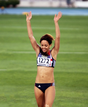 81: BARCELONA, SPAIN - JULY 13  Katarina Johnson-Thompson from Great Britain, winner of the long jump event with 6 81 meters on the IAAF World Junior Championships on July 13, 2012 in Barcelona, Spain
