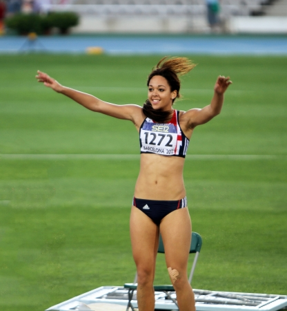 katarina: BARCELONA, SPAIN - JULY 13  Katarina Johnson-Thompson from Great Britain, winner of the long jump event with 6 81 meters on the IAAF World Junior Championships on July 13, 2012 in Barcelona, Spain