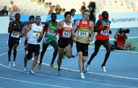 athletes compete in the 800 meters final on the 2012 IAAF World Junior Athletics Championships on July 14, 2012 in Barcelona, Spain