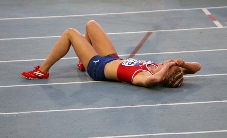 Vilde J Svortevik aus Norwegen nach 400 Meter Hürden Finale auf dem 2012 IAAF World Junior Athletics Championships am 14. Juli 2012 in Barcelona, ??Spanien